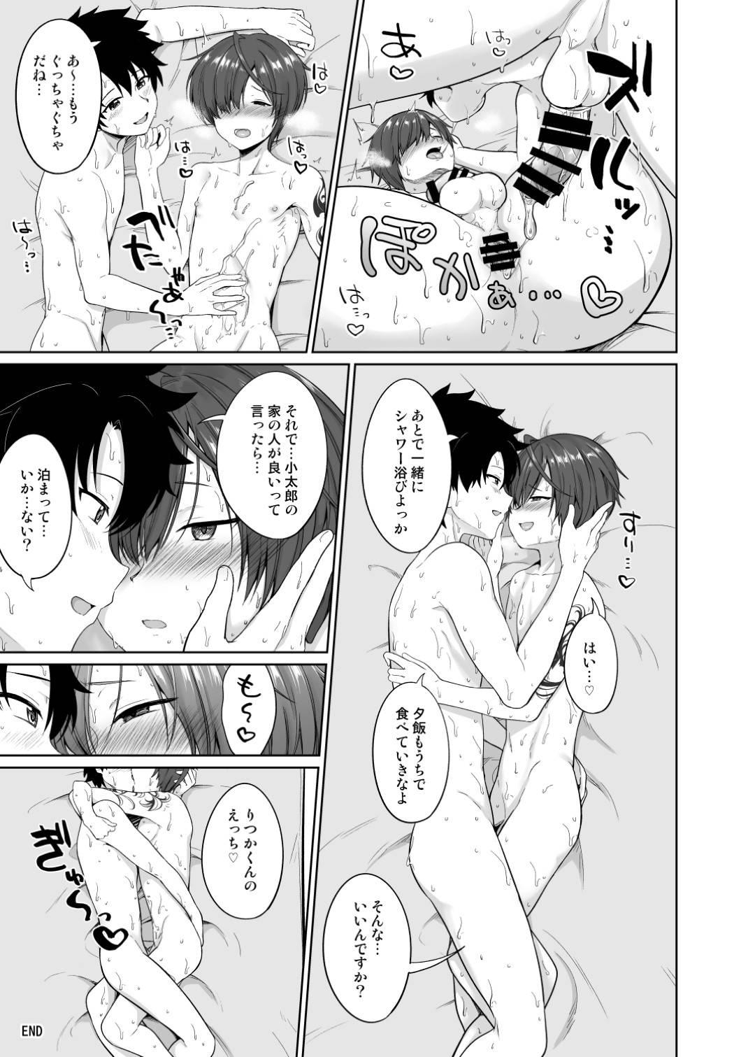 夏休みに恋人のぐだ男の家に遊びに来た小太郎…ゲームをして汗だくになった小太郎に興奮したぐだ男はディープキスすると脇や乳首を舐める。小太郎はフェラでご奉仕するとイチャラブアナルセックス!